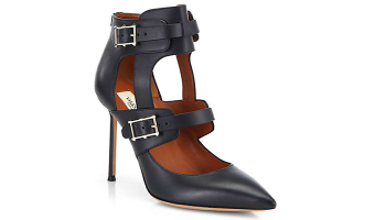 Valentino Hitch On Strappy Leather Point-Toe Pumps