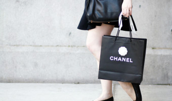 Chanel Ballet Flats and Little Black Dress on 5th Avenue