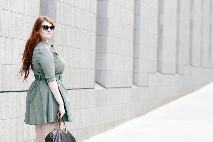 Green Military Style Shirtdress