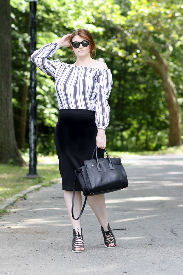 Asos Stripe Off Shoulder Top
