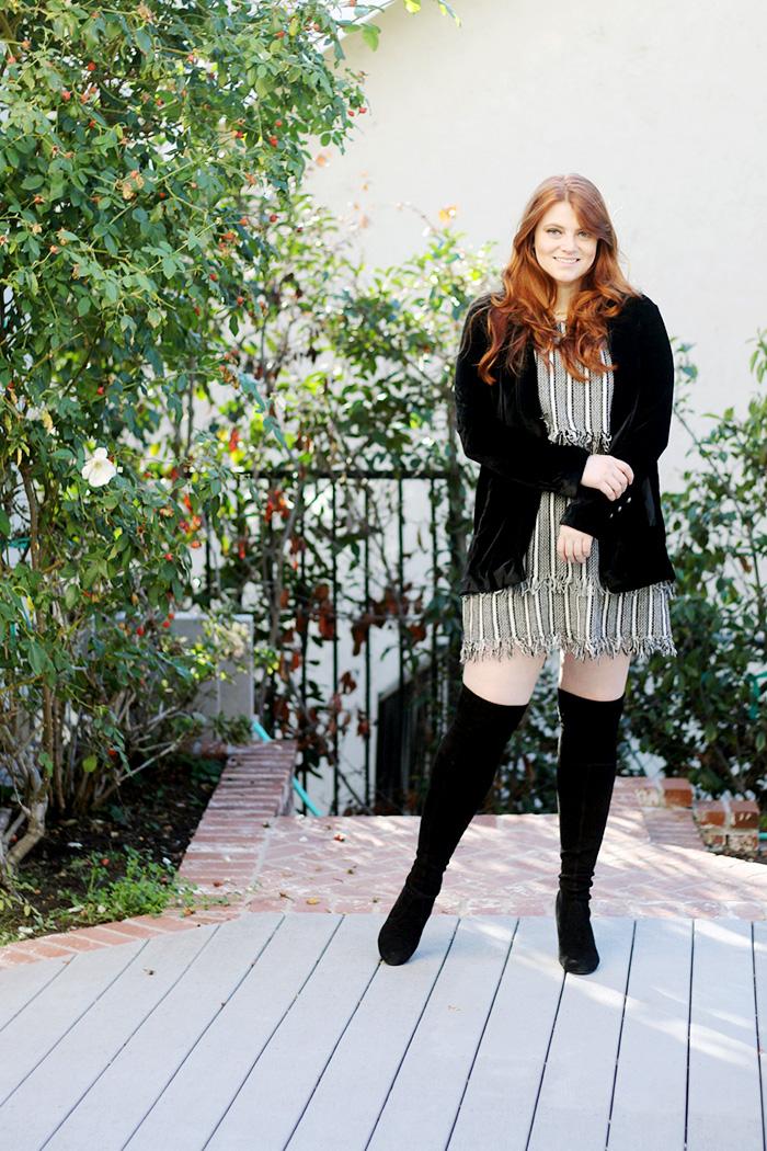 Velvet Blazer, Asos Stripe Dress, Over the Knee Boots