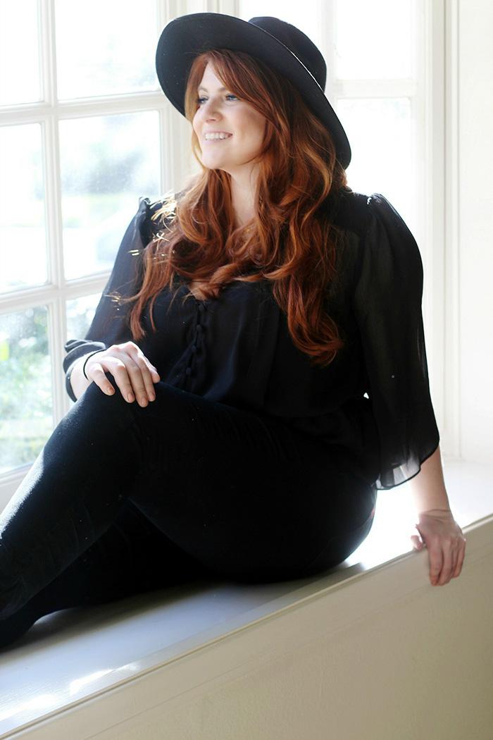 Red Hair Convertible Bangs & Fedora