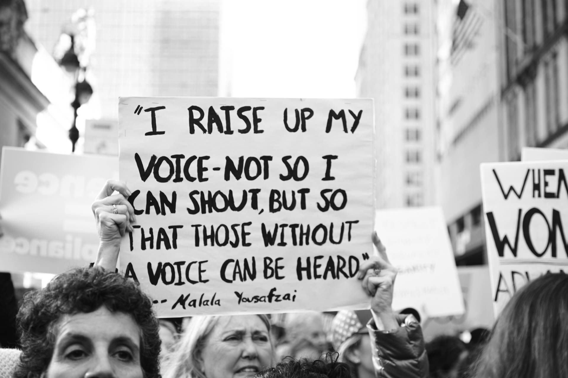 I raise up my voice not so I can shout, but so that those without a voice can be heard