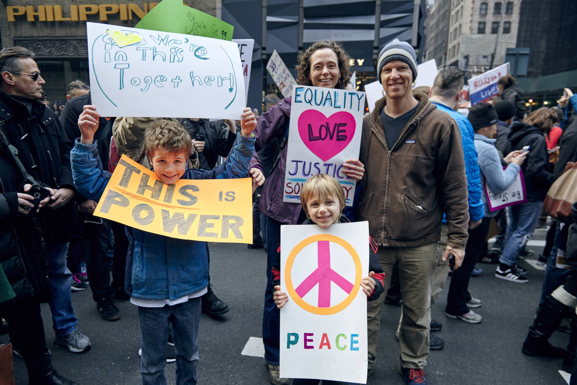 Family at Women's March on NYC